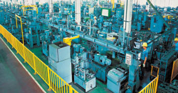 Sewing machine production line from Mitsubishi
